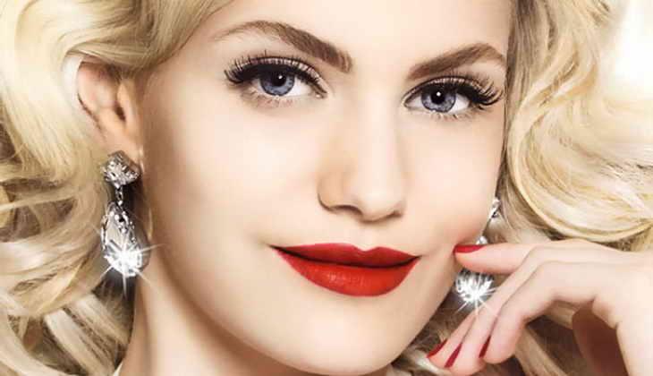 голливудский макияж красные губы
