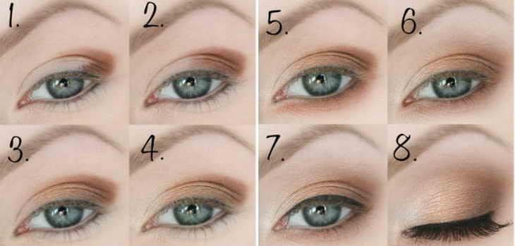 Дымчатый макияж для синих, голубых глаз