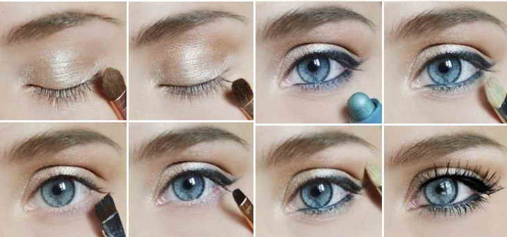 Нежный макияж для голубых и синих глаз