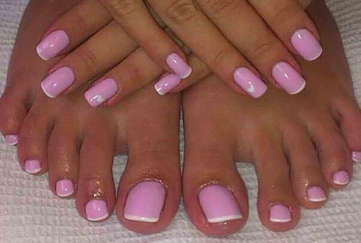 розовый с белым педикюр френч