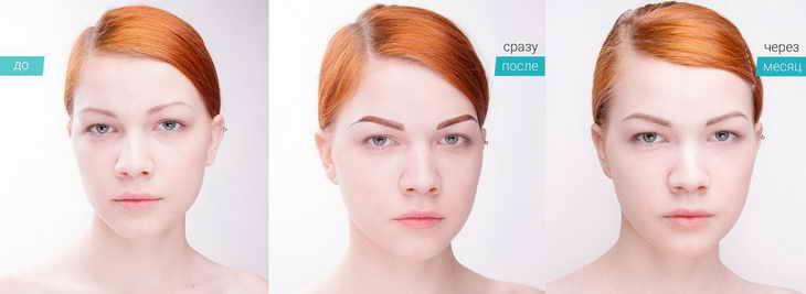 перманентный макияж бровей растушевка