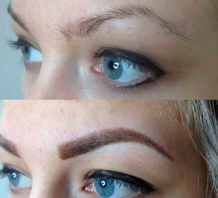 теневая растушевка бровей фото до и после