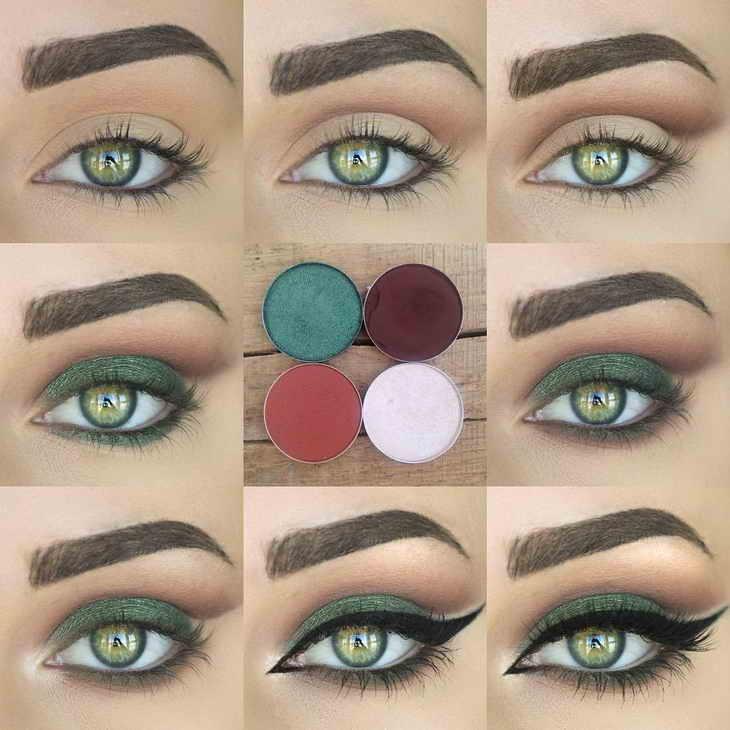 вечерний макияж зеленые глаза