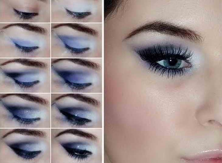 вечерний макияж голубые глаза
