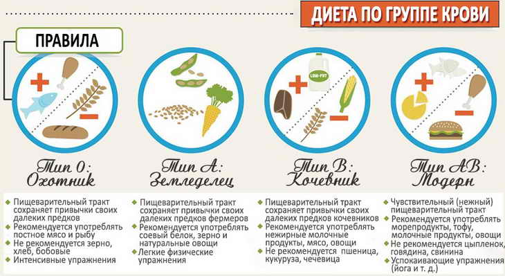 Особенности и принципы диеты по группе крови