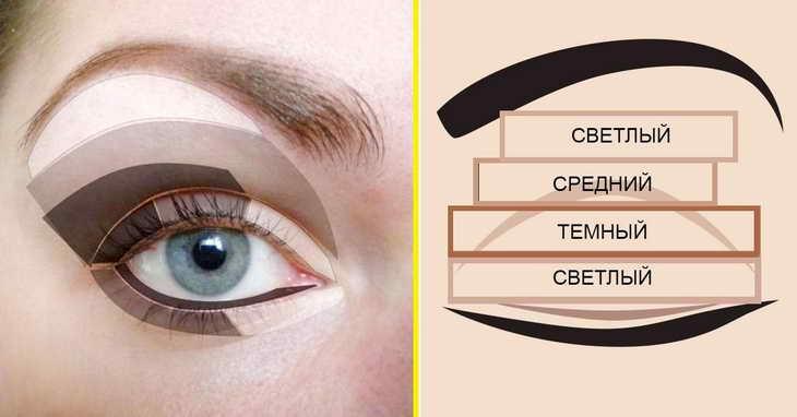 как правильно красить глаза тенями пошаговая схема