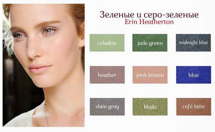 как красить глаза тенями зеленые