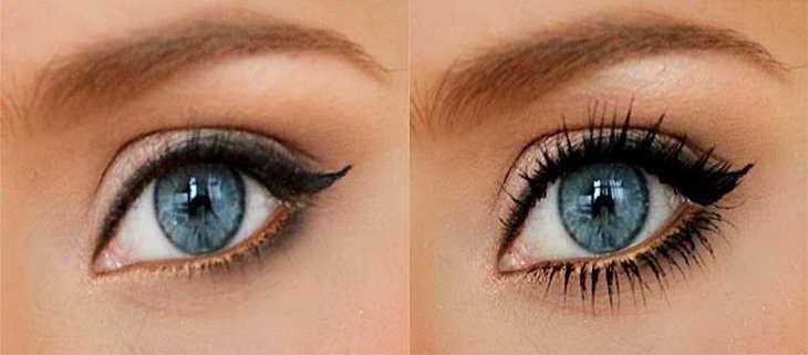 какими тенями красить голубые глаза