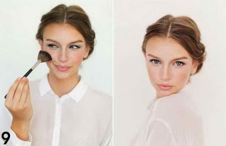 нюдовый макияж для серо голубых глаз