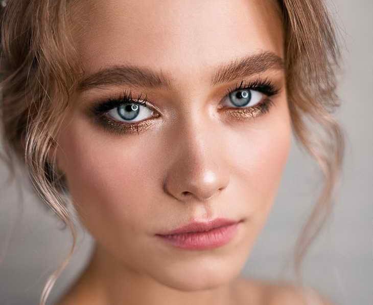 макияж для серо голубых глаз свадебный