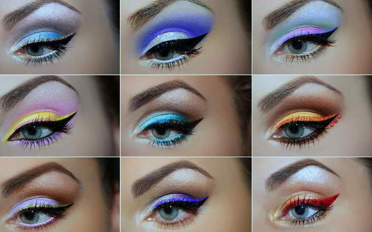 макияж для серо голубых глаз праздничный