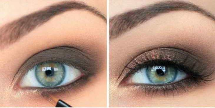 макияж для серо зеленых глаз смоки айс
