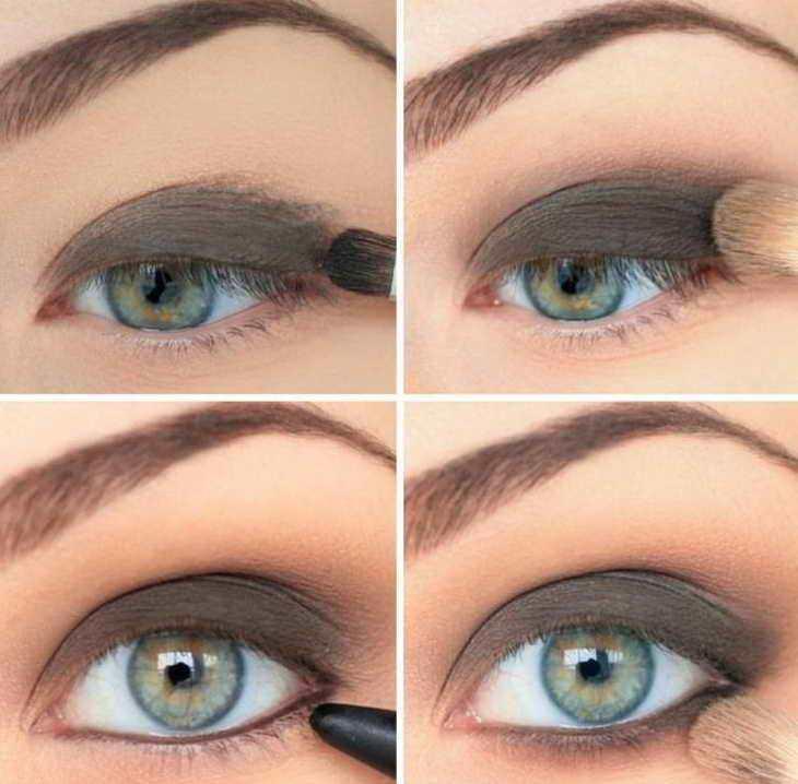 макияж для серо зеленых глаз смоки