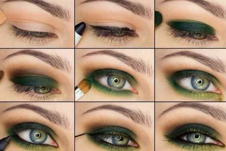 красивый макияж для серо зеленых глаз