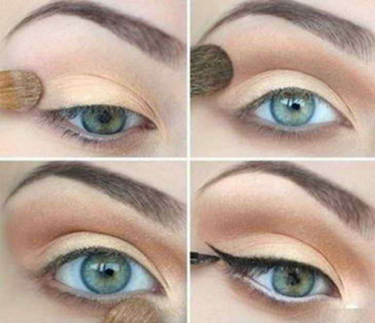 вечерний макияж для серо зеленых глаз для нависшего века