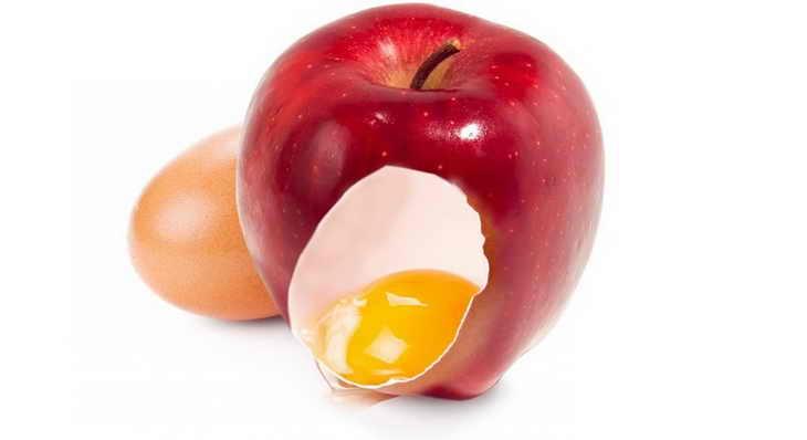 Маска от угрей и прыщей с яйцом и яблоком