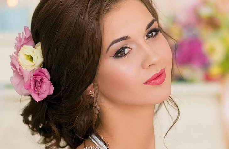 свадебный макияж шатенка