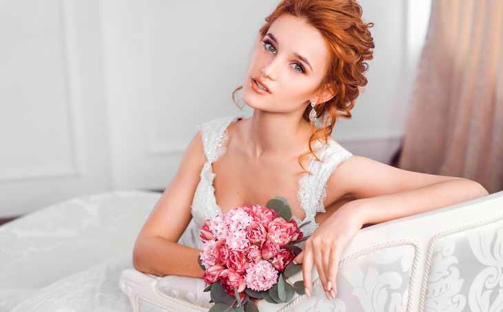 свадебный макияж рыжая