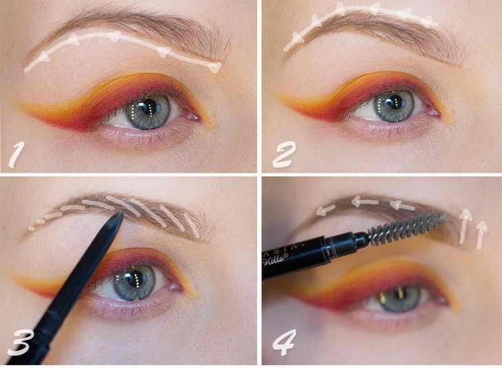 как красить брови карандашом пошагово