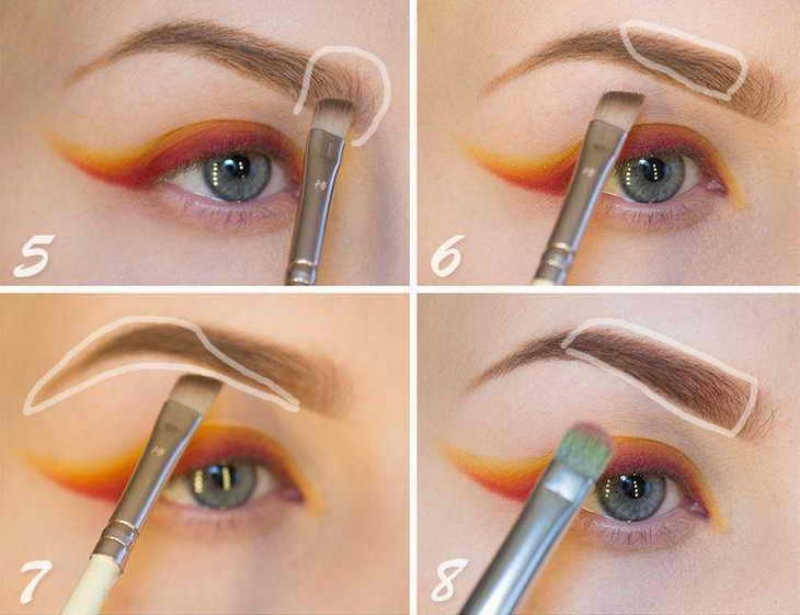как красить брови карандашом поэтапно