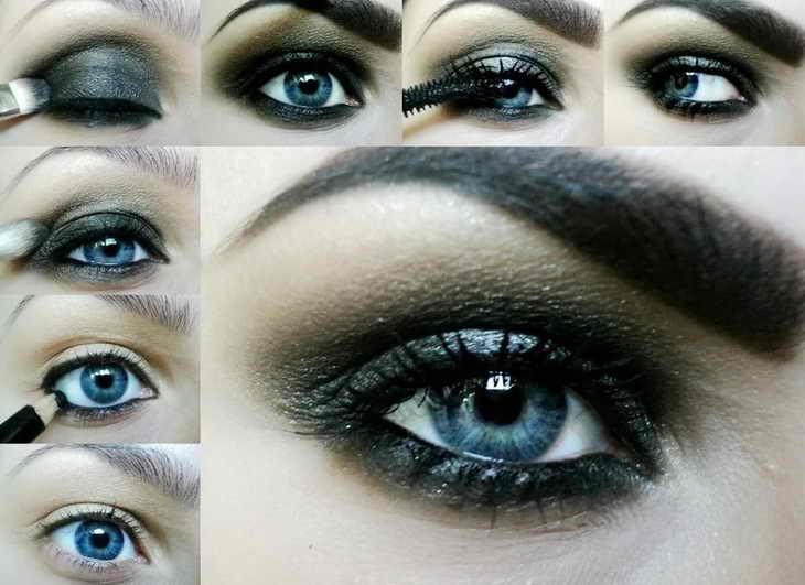 макияж для голубых глаз смоки