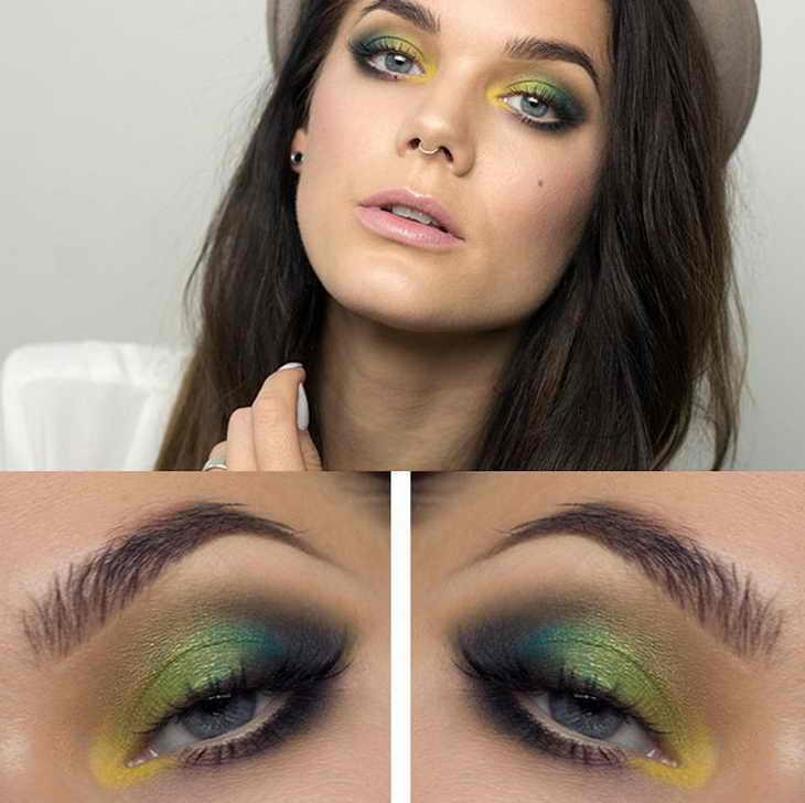 макияж с голубыми тенями для голубых глаз