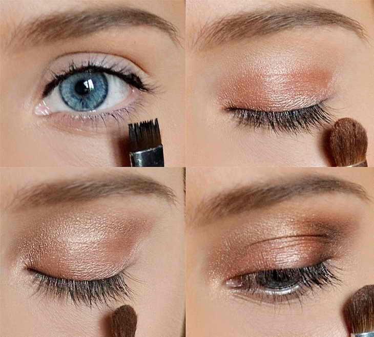 макияж для голубых глаз нюдовый
