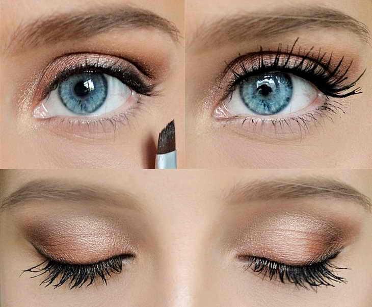 макияж для голубых глаз нежный