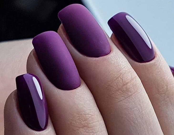серо фиолетовый маникюр