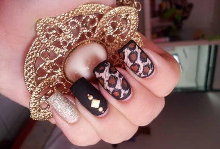 леопардовый маникюр вечерний