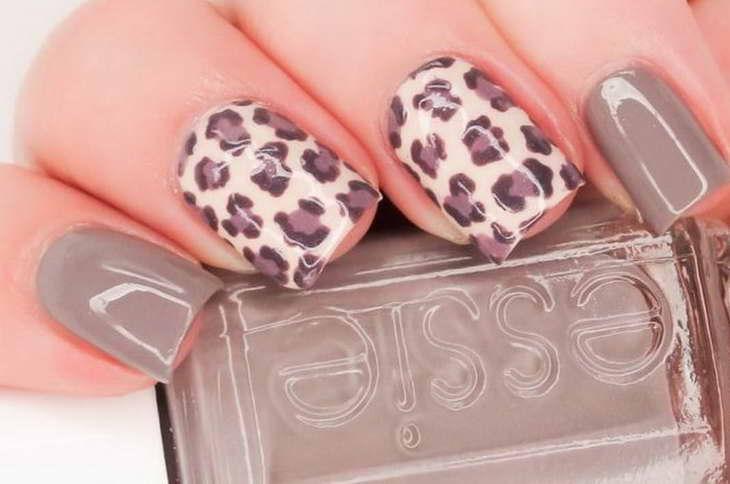 леопардовый маникюр серый