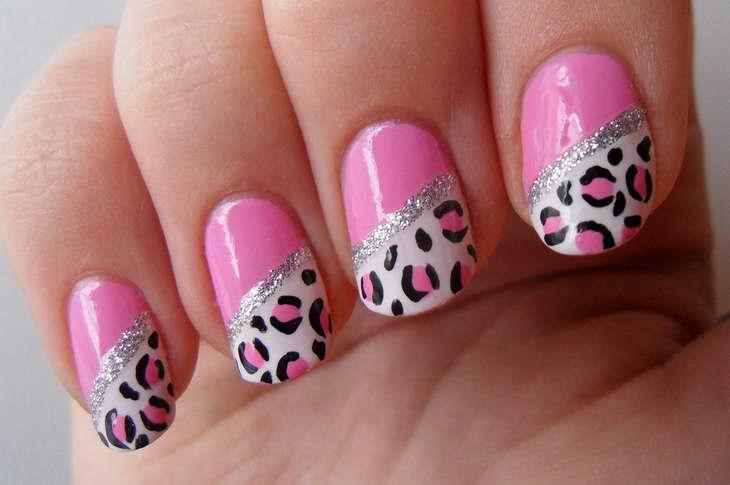 леопардовый маникюр розовый