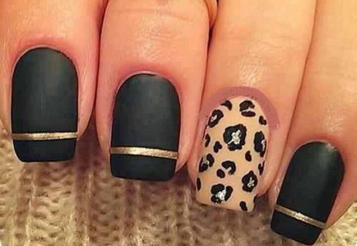 леопардовый маникюр черный