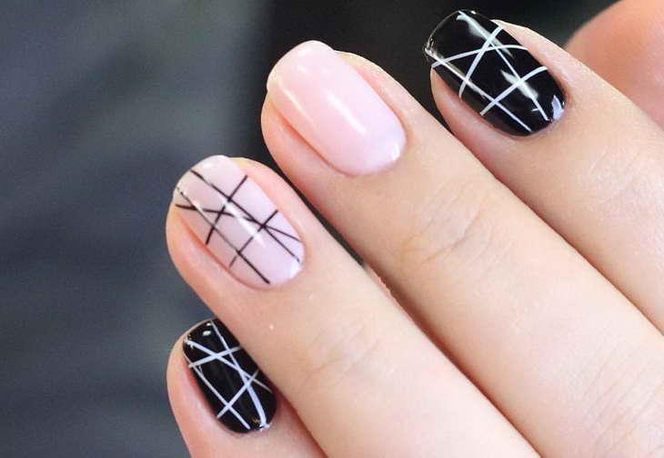 маникюр паутинка на короткие ногти