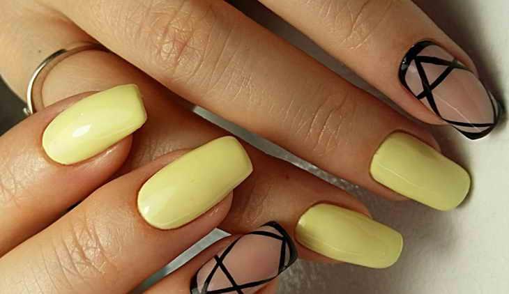 маникюр в пастельных тонах желтый