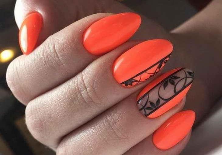 маникюр оранжевого цвета фот