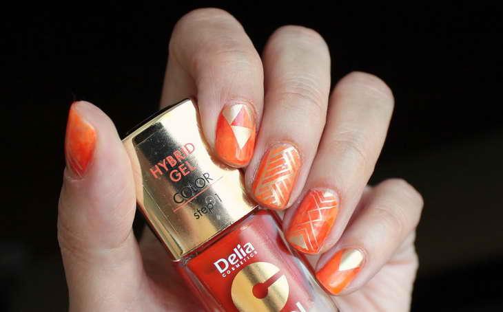 оранжевые ногти как самой сделать