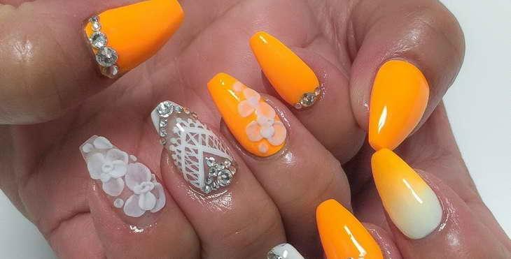 оранжевые ногти как просто делать