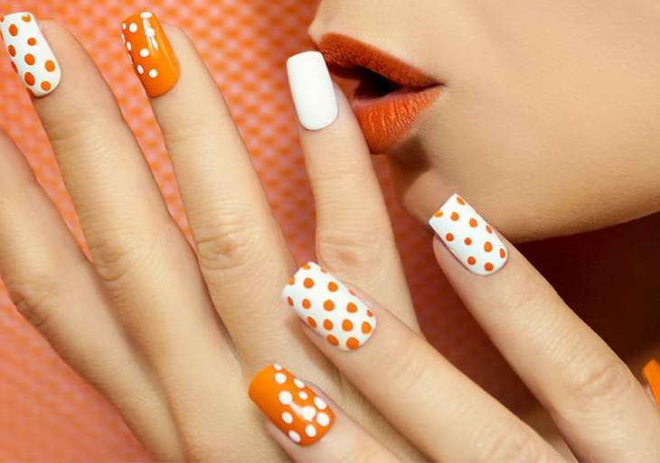 оранжевые ногти красивый