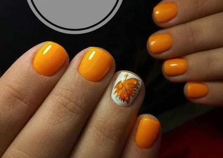 оранжевые ногти короткие