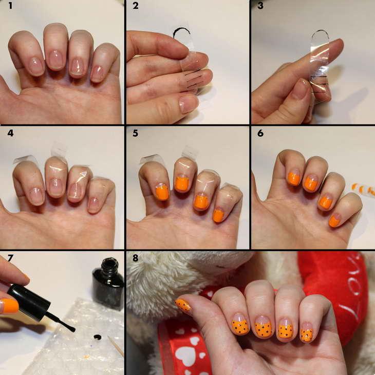 оранжевый маникюр фото дизайн