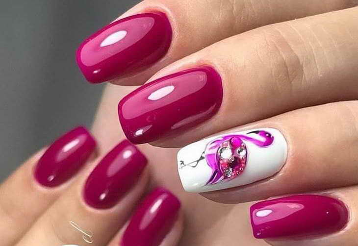 вишневый маникюр как сделать самой